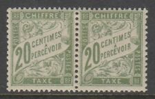 France - 1906, 20c Olive-Green Postage Due pair of stamps - L/M - SG D300