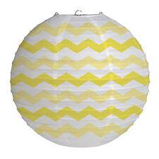 "12"" Mimosa Yellow Chevron ZigZag Party Round Paper Wire Ball Lantern Decoration"