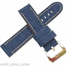 20mm 24mm Diloy Jeans Denim Canvas Textile Watch Strap Band in Blue