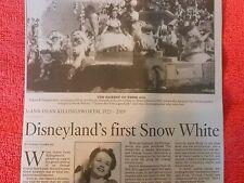 1923-2015 JOANN DEAN KILLINGSWORTH OBITUARY DISNEYLAND FIRST SNOW WHITE