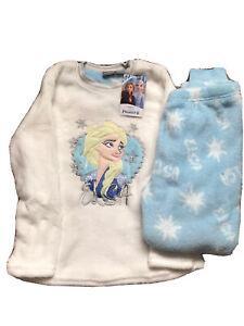 BNWT Disney Frozen White Fleece Pyjama Set Girls 2 Piece Sequin Slogan P.Js Set