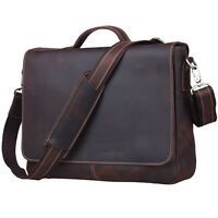 "TIDING New Vintage Style Genuine Leather Mens Briefcase 14"" Laptop Messenger Bag"