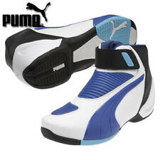 Puma Flat 2 v2 - Size 6 US - White w/ Blue Motorcycle Shoes - CLOSEOUT