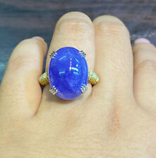 NATURAL TANZANITE 20X15 FIRE OPAL SAPPHIRE DIAMOND CUT STERLING SILVER925 RING