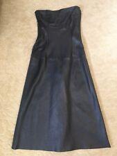 New 90s Long Midi Lamb Leather Black Dress  Stripes Charcoal Strapless Vintage
