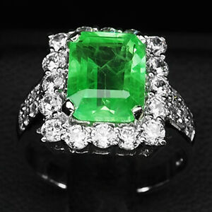 Emerald Green Octagon 5 Ct. Sapp 925 Sterling Silver Ring Size 6.5 Gift Jewelry