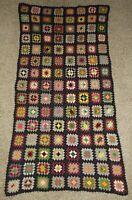 "Vintage Granny Square Crochet Afghan Blanket Black Multi 34"" x 68""  throw"