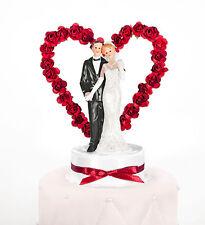 Tortenfigur Hochzeit Brautpaar mit Herz Tortenaufsatz Tortendeko