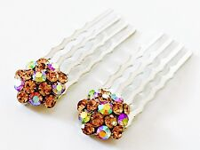 Mini Hair Comb Small Swarovski ELM Crystal Bridal Wedding Clip Amber Yellow Gold