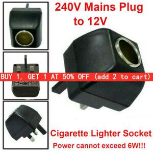 Cigarette Lighter Socket 240V Mains Plug to 12V Car Charger Power Adapter~UK