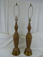 """VINTAGE MID CENTURY PAIR CERAMIC 3 WAY 43"""" HIGH TABLE LAMPS"""