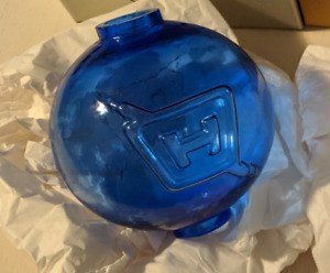 RARE old stock Box Fenton Cobalt Blue Glass Lightning Rod Ball Globe COLLECTABLE