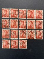 1962 HONG KONG  , ELIZABETH II , LOT OF 18 STAMPS 50C