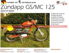 ZUNDAPP GS 125 et MC 125 1973 Fiche Moto 000262