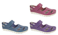 Womens Ladies EEE Wide Fit Touch Fastening Elasticated Mary Jane Shoes Sandals
