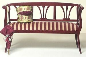 Vintage Artisan Victorian Box, Parasol & Bespaq Sofa Bench Dollhouse Miniature