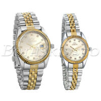 Men's Women Luxury Stainless Steel Strap Rhinestone Quartz Analog Couples Watch