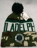 Philadelphia Eagles Camouflage Team Color Landmark Patch Pom Pom Knit Beanie Hat