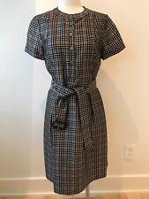 Burberry Grey Navy Tattersall Tie Waist Dress