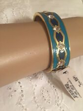 ANNE KLEIN BRACELET BLUE AND GREEN ENAMEL RHINESTONE ADORNED HINGED CUFF BANGLE