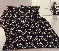 Conjunto De Ropa De Cama Individual Floral Negro Blanco Crisantemo Poli Algodón Ajustada, Plana