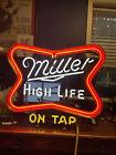 MT. VERNON NEON SIGN CO. MILLER HIGH LIFE ON TAP mancave vintage lightup sign