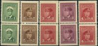 Canada 1942-43 Mint H/NH COIL PAIRS F+ Scott #249-52as &#254as War Issue Stamps