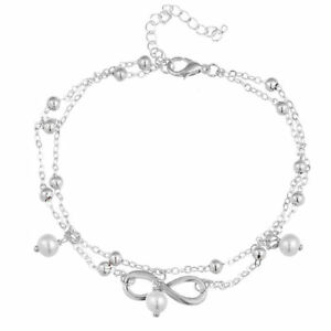 Infinity Ankle Bracelet Pearls 925 Sterling Silver Plated Anklet Chains Beads UK