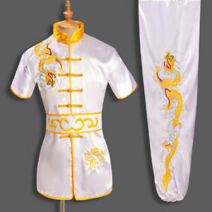 Kung Fu Uniform Martial Arts Suit Wushu Tai Chi Outfit Dragon Embroidery 4 Color
