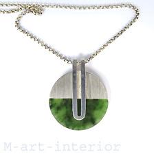 modernist Design Collier 835 Silber Jade Anhänger Kette Boho 70s Pendant vintage