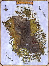Vvardenfell TES 3 Morrowind Map Fabric Wall Print Poster 24X32 Inch