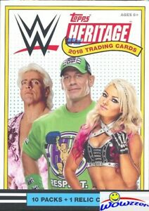 2018 Topps WWE Heritage Wrestling EXCLUSIVE Factory Sealed Blaster Box-RELIC !