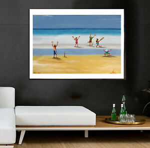 Cricket world cup Art signed Painting Beach poster Australia ocean seascape