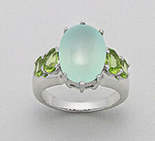 Sterling Silver 7g Blue Calcedony & Peridot 15.5mm Statement Ring Sz7.5