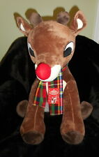 """RUDOLPH THE RED NOSED REINDEER IN PLAID FLANNEL SCARF PLUSH 24"""" TALL DOLL NEW"""