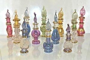 Lot of 6 Tiny Mouth Blown Egyptian Perfume Bottles Pyrex Glass
