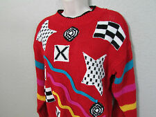 Vtg 80s Knit Works Red Ugly Stars Geometric Christmas Sweater Knitted Size Large