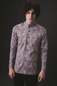 Mens Vintage Grey Pink 60s Paisley Kaftan Shirt Long Sleeve Retro Mod S M L XL