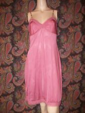 Vtg Vanity Fair Pink Silky Nylon Empire Slip Nighty Lingerie 34