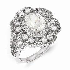 Cheryl M Sterling Silver Cubic Zirconia Flower Ring Size 7 #1058