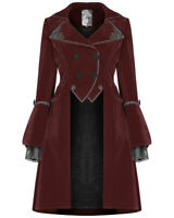 Punk Rave Pyon Womens Gothic Velvet Winter Coat Jacket Red Black Steampunk Lace