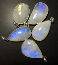 5 Rainbow Moonstone Silver Overlay Baby Pendants Wholesale Lot Price 5884