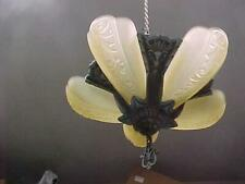 Art Deco 5 Lite Slip Shade Fixture with 5 Shades, Very Good Condition