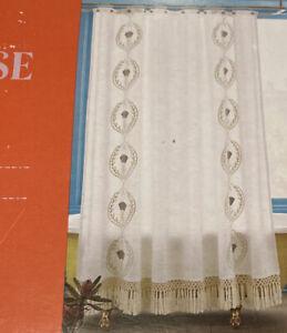 "NEW Opalhouse Embroidery Shower Curtain Standard ""Carefree Khaki"" New Fringe"