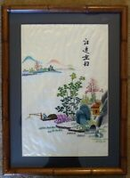 Antique Framed Chinese Silk Embroidery Textile Fisherman, Village & Mountains