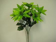 "4 Bushes LIME Xmas Poinsettia 7 Artificial Silk Flowers 12"" Bouquet 209LIM"