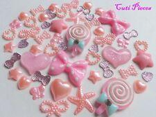 Baby Rosa Pallido lolly cuore resina Mix Fiocchi Stelle Di Perle Farfalla Flat-Back Craft