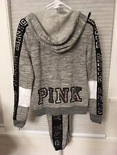 Victoria's Secret PINK Bling Perfect Full Zip Hoodie/Pant Set Grey Marl S NWT