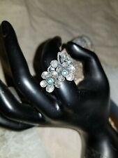 Sterling Silver Opal Flower Ring Size 7