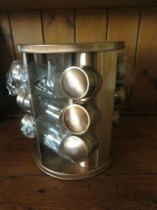 Copper Colour Rotating Spice Rack With 12 Glass Bottles
